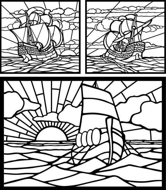 Контурные рисунки кораблей, парусников в векторе.