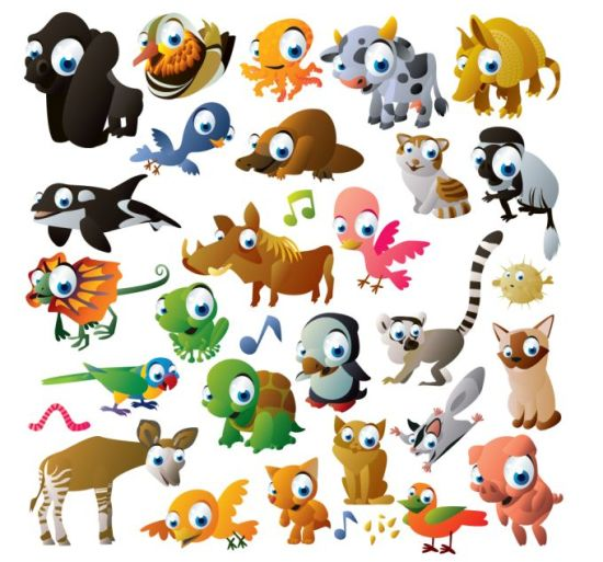 Забавные рисунки животных и птиц в векторе.