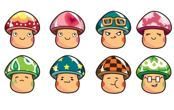 живые грибы, для детей, грибочки, эмоции, рисунок в векторе, EPS