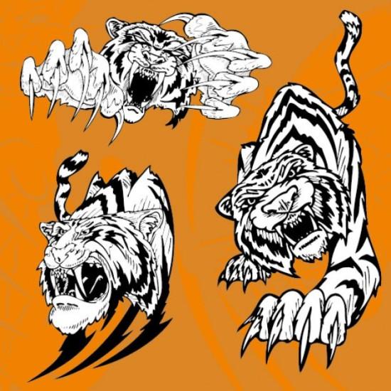 Черно - белый рисунок тигра в векторе