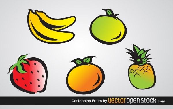 клубника, банан, лимон, апельсин, фрукты, рисунки фруктов,  в векторе, AI