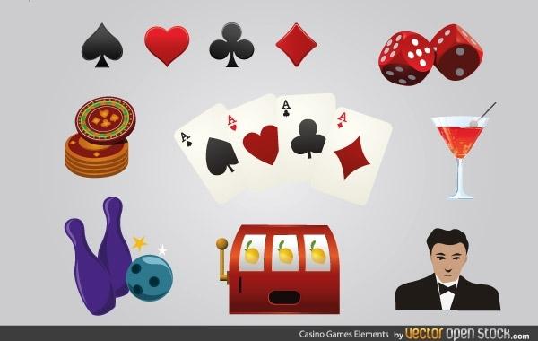игра, казино, игральные карты, кости, кегли, боулинг, игровые автоматы,  иконки в векторе,  AI