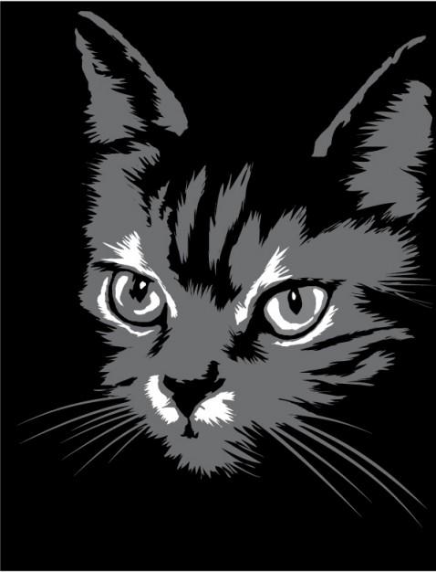 черная кошка, силуэт, рисунок, в векторе, EPS