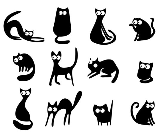 Векторные силуэты, упрощенные рисунки черных кошек. Силуэты. Трафарет.
