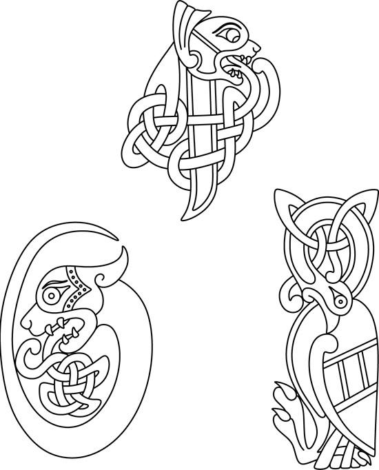 Кельтские узоры. Контурные рисунки мифических животных.