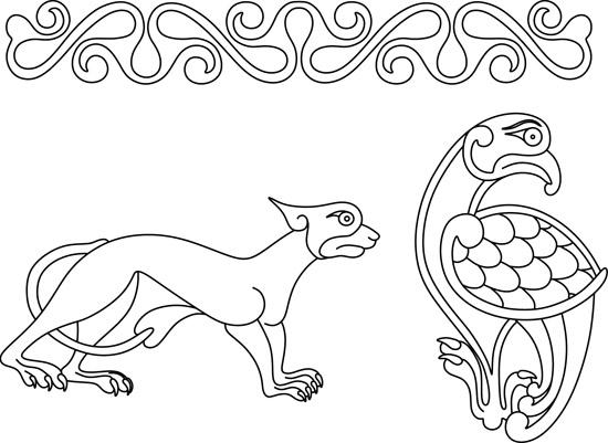 Кельтские узоры. Контурный рисунок животного и птицы.