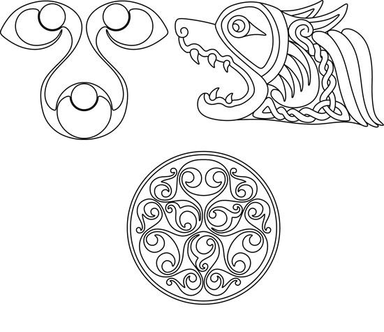 векторные кельтские узоры, контурные рисунки узоров, тату, эскизы, кельты,  в векторе,  EPS, SVG, DWG, GIF
