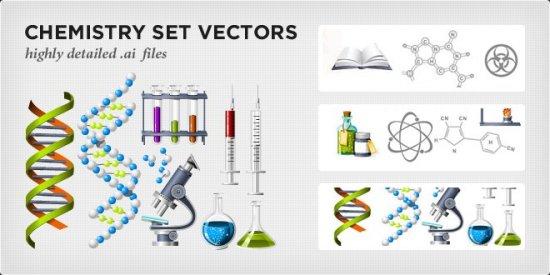 Химия, колбы, микроскоп, шприцы, цепочки ДНК в векторе