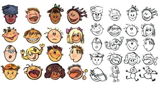 Векторный клипарт Счастливые дети. Рисунок, контур.