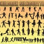 Силуэты играющих детей в векторе