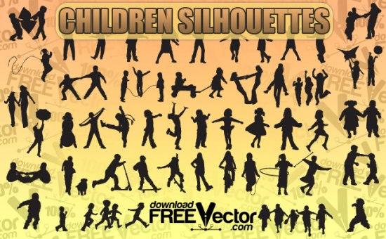 силуэты играющих детей, детские игры, дети, силуэты в векторе, SVG , EPS