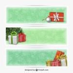 Новогодние баннеры с подарками в векторе.