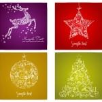 Новогодние декоративные открытки в векторе.