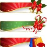 Векторные новогодние баннеры, фоны с бантами, колокольчиком, шапкой