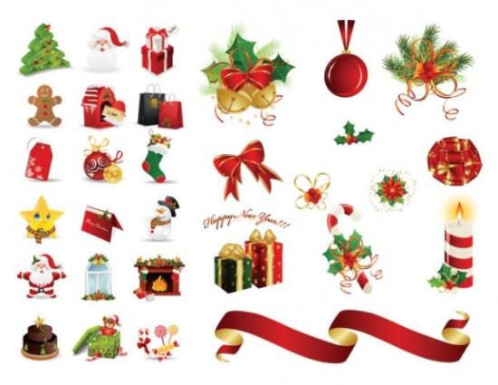 Новогодние иконки: елка, Дед мороз в векторе.