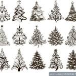 Черно - белые рисунки новогодних елок и елей в векторе