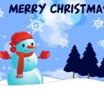 Новогодняя открытка со снеговиком в векторе