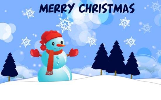 Новый год, Рождество, снеговик, снег, открытка в векторе, формат EPS