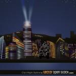 Ночной город, мегаполис в векторе.
