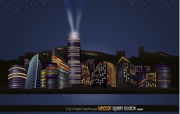 ночной город, мегаполис, небоскребы, ночь, рисунок в векторе, AI