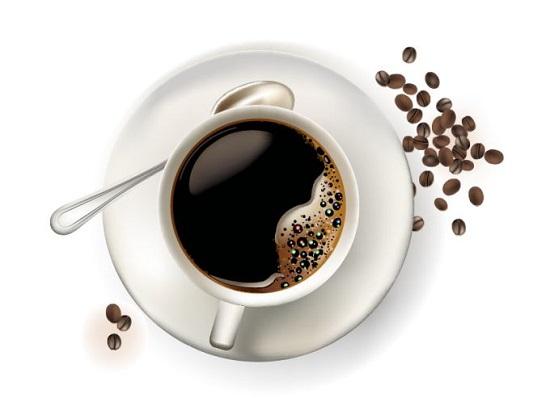 Чашка кофе и зерна в векторе.