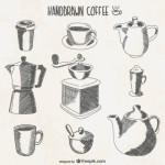 Рисунок карандашом кофеварки, чайника.