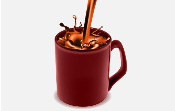 Кружка с какао в векторе.