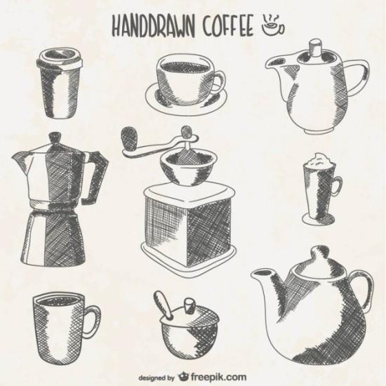 векторный кофейник, чайник, сахарница, чашка, молочник,  изображение в векторе,  AI, EPS