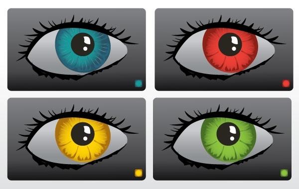 рисунок глаза, радужки, зеленые, синие, красные, желтые глаза, в векторе, формат AI