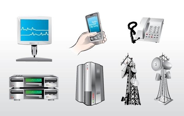 Иконки в векторе: телефон, вышки, сервер.