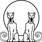 Контурный рисунок Две пумы. Вектор.