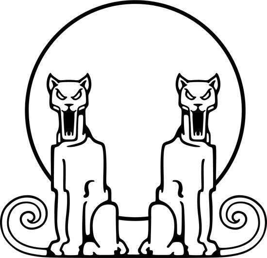 животные, тотем, пумы, контурный рисунок в векторе,  EPS