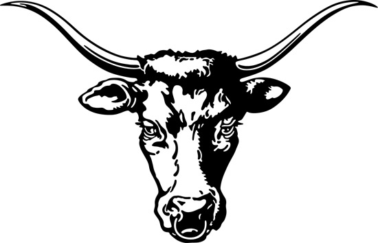 Голова коровы с рогами в векторе.