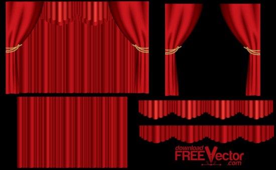Красный театральный занавес. Фон в векторе.