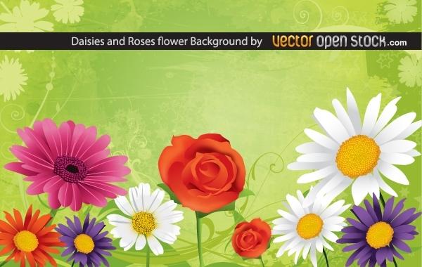 Полевые цветы и роза в векторе