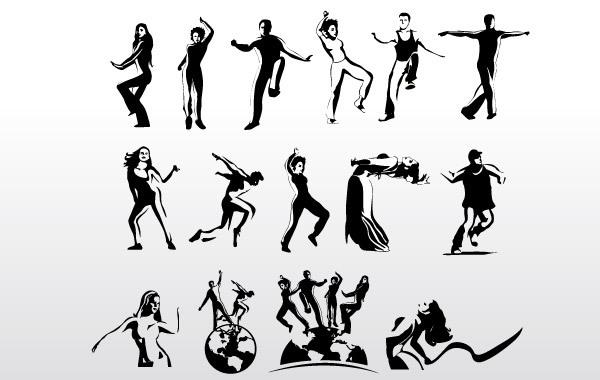 Силуэты танцующих людей в векторе