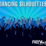 Танцующая толпа, поклонники. Силуэты на синем фоне в векторе
