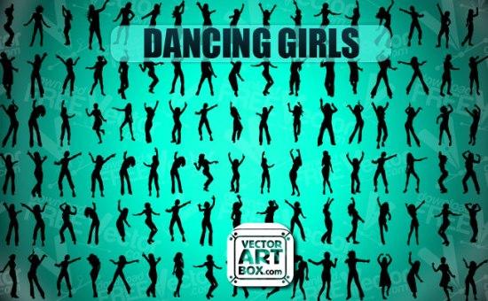Векторные силуэты танцующих девушек. Трафарет.