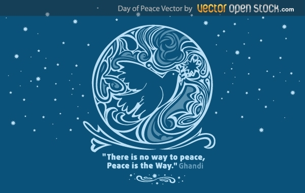 День мира, голубь мира в векторе.