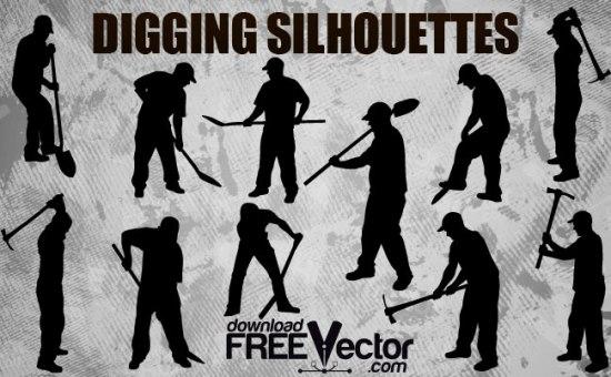 строительство, рабочий с лопатой, рабочий с киркой, силуэт рабочего в векторе, SVG, EPS