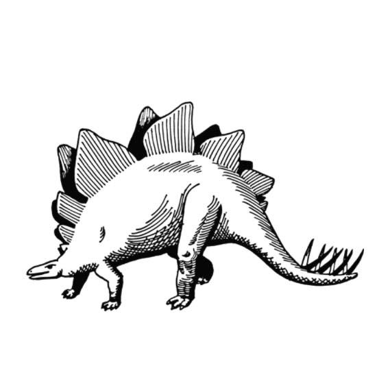 черно белый рисунок динозавра, рисунок штрихами