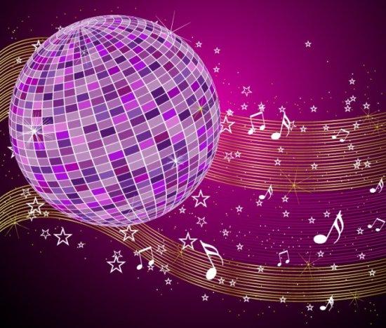 музыка, дискотека, диско, стеклянный шар, в векторе, EPS