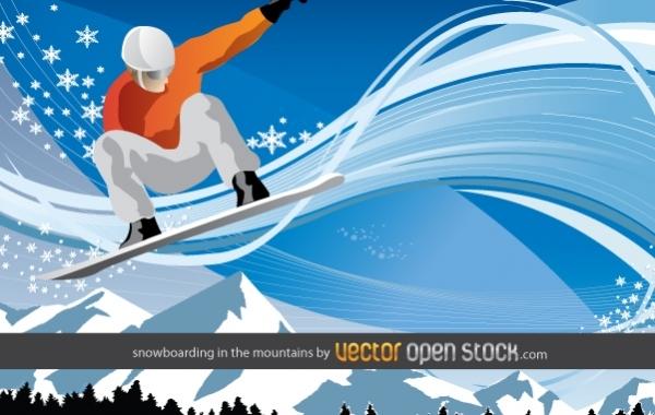 Сноубординг в горах в векторе
