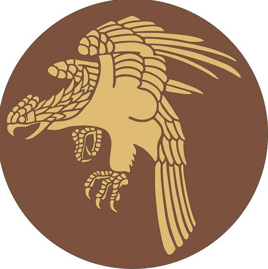 Рисунок летящего орла в векторе.