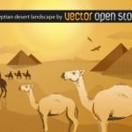Пустыня с верблюдами в векторе