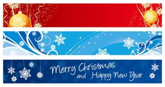 Новый год, Рождество, снежинки, новогодние шары, горизонтальные баннеры, баннеры в векторе, eps