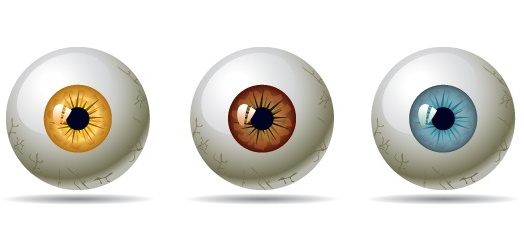 Глаза, зрачки, радужка, сетчатка, глазные яблоки. Векторный клипарт.