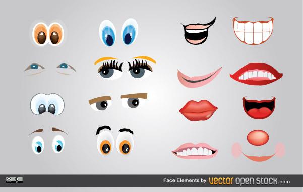 Глаза, губы, улыбки в векторе