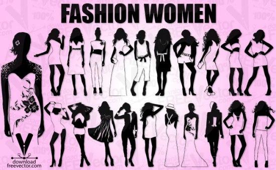 рисунки в векторе, контурный рисунок, трафарет, силуэт, AI, EPS, мода, платья, костюмы, девушки