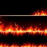Макет горящих баннеров в векторе. Пламя, огонь.